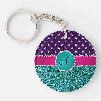 Monogram turquoise glitter purple diamonds keychain