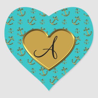 Monogram turquoise gold anchors heart heart sticker