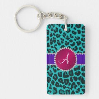 Monogram turquoise leopard pink circle acrylic keychain