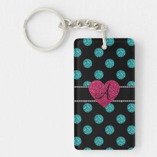 Monogram turquoise polka dots pink heart keychains