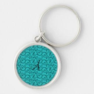 Monogram turquoise swirls keychain