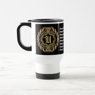 Monogram U CUSTOMIZE To Change Background Color Stainless Steel Travel Mug