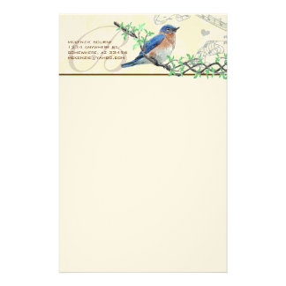 Monogram Vintage Bird Musical Branch Stationery