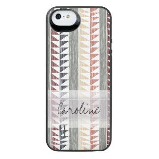 Monogram Vintage Geometric Ikat Stripes Pattern iPhone SE/5/5s Battery Case