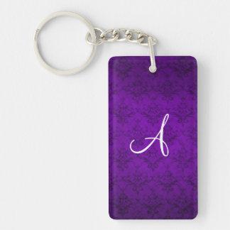 Monogram vintage purple damask acrylic key chain