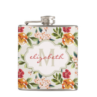 Monogram Vintage Victorian Watercolor Floral Hip Flask