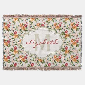 Monogram Vintage Victorian Watercolor Floral Throw Blanket