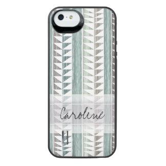 Monogram Watercolor Aqua Geo Ikat Stripes Pattern iPhone SE/5/5s Battery Case