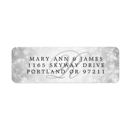 Monogram Wedding Address Silver Winter Wonderland Return Address Label