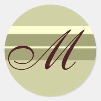 Monogram Wedding Envelope Seal Brown ivory sage Round Stickers