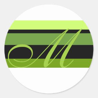 Monogram Wedding Envelope Seal Green Black White Classic Round Sticker