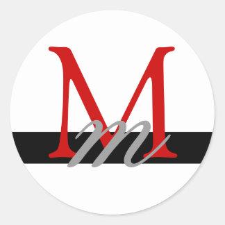 Monogram Wedding Envelope Seal White Red Black Round Stickers