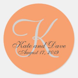 Monogram Wedding Favor Round Sticker