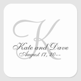 Monogram Wedding Favor Square Sticker