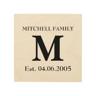 Monogram wedding name date rustic chic initial hip wood canvas