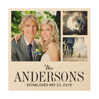 Monogram Wedding Photo Collage Print on Wood
