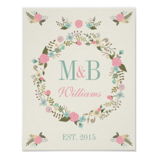 Monogram wedding poster print Mint and pink