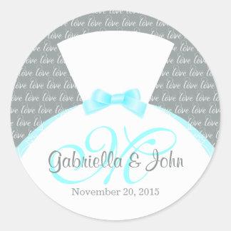 Monogram Wedding Round Sticker