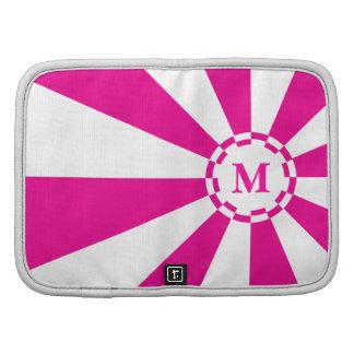 Monogram White, Pink Stripe Mini Planner Organizers