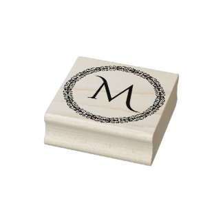 Monogram With Ornate Decorative Border Rubber Stamp