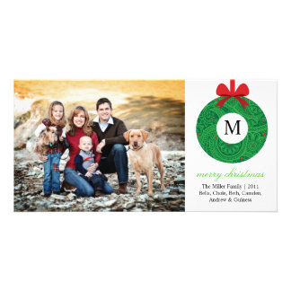 Monogram Wreath Personalized Photo Card