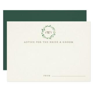 Monogram Wreath Wedding Advice Cards | Forest 9 Cm X 13 Cm Invitation Card