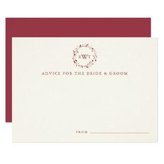Monogram Wreath Wedding Advice Cards | Marsala 9 Cm X 13 Cm Invitation Card