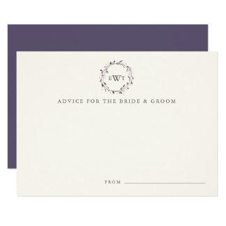 Monogram Wreath Wedding Advice Cards | Plum 9 Cm X 13 Cm Invitation Card