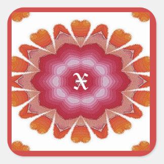 Monogram X Pink Orange Flower Petals Sticker
