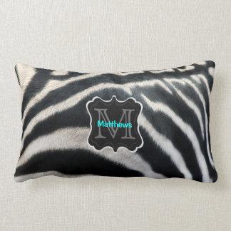 Monogram Zebra Photo Lumbar Pillow