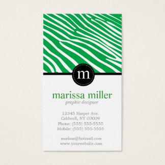 Monogram Zebra Print Business Cards