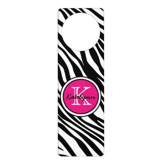 Monogram Zebra Print Door Hanger
