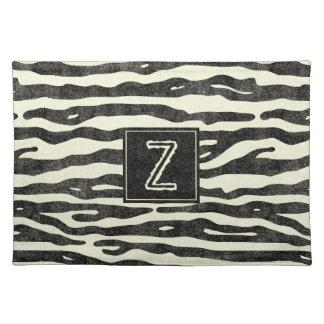 Monogram Zebra Print Modern Animal Pattern Placemat