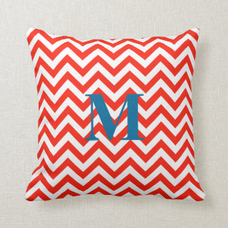Monogram Zigzag Pillow in Coral
