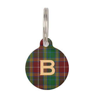 Monogramed Baxter Plaid Dog Tag