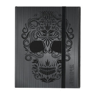 Monogramed Black Brushed Metal, Floral Sugar Skull iPad Case