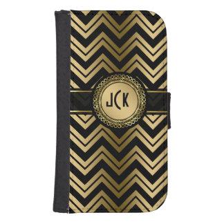 Monogramed Black & Gold Geometric Zigzag Chevron Samsung S4 Wallet Case
