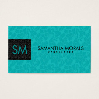 Monogramed Bold Modern Black & Turquoise Damasks 2 Business Card