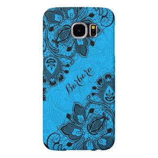 Monogramed Elegant Black & Blue Floral Girly Lace