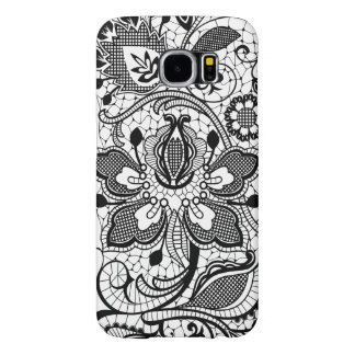 Monogramed Elegant Black & White Floral Girly Lace Samsung Galaxy S6 Cases