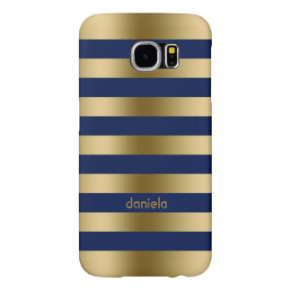 Monogramed Gold & Blue Stripes Geometric Pattern