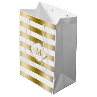 Monogramed Gold Tones & White Stripes Pattern Medium Gift Bag