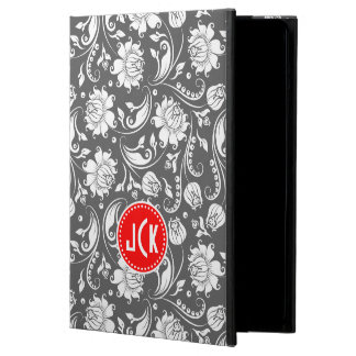 Monogramed Gray Red And White Vintage Damasks iPad Air Cases