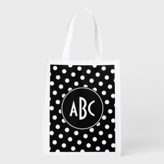 Monogrammed Black and White Polka Dots