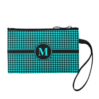 Monogrammed Black/Aqua Blue Houndstooth Coin Purse