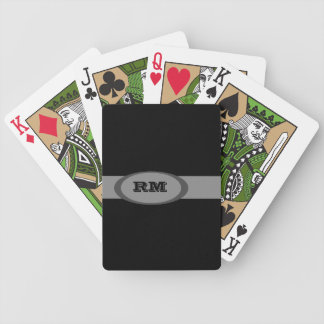 Monogrammed black gray bicycle playing cards