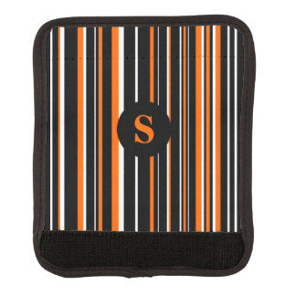 Monogrammed Black, Orange, and White Striped Handle Wrap