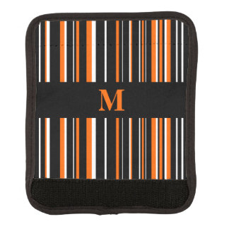 Monogrammed Black, Orange, and White Striped Luggage Handle Wrap