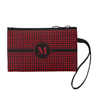 Monogrammed Black/Red Houndstooth Coin Purse