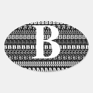 Monogrammed Black White Letter B Sticker